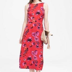 NWT Banana Republic Floral Low Back Midi Dress, 6